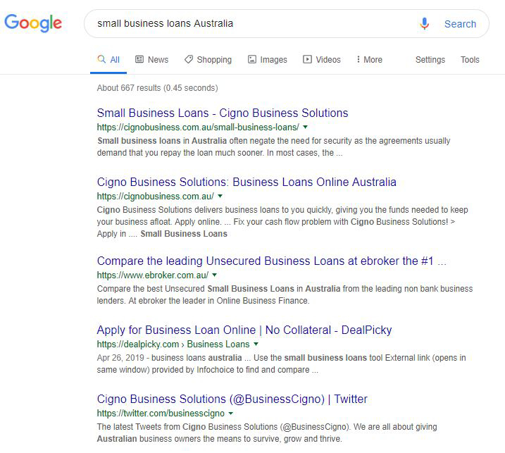 small business loans in Australia - SERP